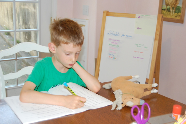Emmett nicely doing his work--a rarety this week.