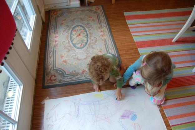 Sulien having fun coloring.