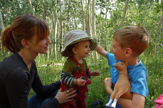 Jill, Sulien, Emmett, and Horsie in the little Aspen forest.