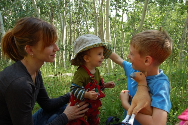 Jill, Sulien, Emmett, and Horsie in the little Aspen forest.